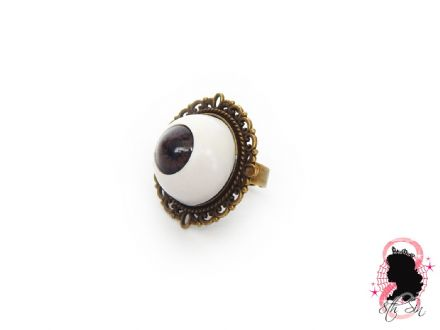 Antique Bronze and Brown Eyeball Ring